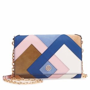 Tory Burch Robinson Colorblock Leather Wallet chai